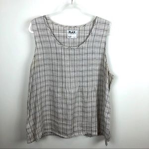 FLAX Linen Plaid Tank Top Large L